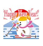 NEW YEAR 2019〜尖り鼻の雪だるま(個別スタンプ:01)