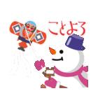 NEW YEAR 2019〜尖り鼻の雪だるま(個別スタンプ:04)