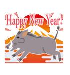 NEW YEAR 2019〜熱血イノシシ(個別スタンプ:01)