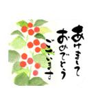 花の絵と年末年始のお礼・お祝い・誕生日(個別スタンプ:05)