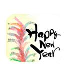 花の絵と年末年始のお礼・お祝い・誕生日(個別スタンプ:20)