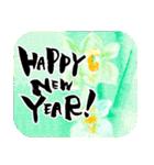 花の絵と年末年始のお礼・お祝い・誕生日(個別スタンプ:21)
