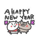 年末年始!イノシシちゃんぱんだちゃん(個別スタンプ:01)
