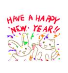 年賀 年末年始挨拶 いのしし うさぎ ねこ(個別スタンプ:03)
