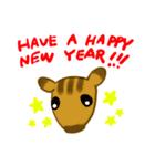 年賀 年末年始挨拶 いのしし うさぎ ねこ(個別スタンプ:04)