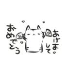 雑すぎる墨筆ねこ3【年末年始ご挨拶】(個別スタンプ:01)