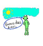 緑色の猫とスペイン語(個別スタンプ:02)