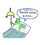 緑色の猫とスペイン語(個別スタンプ:19)