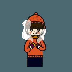 ほっこり暖かいニット帽の女の子