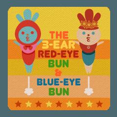 3耳赤目うさぎと青目うさぎ
