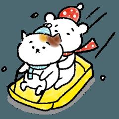 猫とくまのスタンプ(冬)