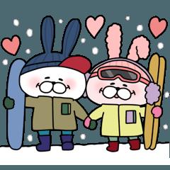 CHUして幸せラブラブカップルうさぎ7【冬】
