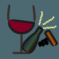 ワインとクリスマス(欧風冬のスタンプ)