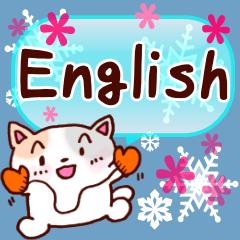 使うと雪が現れるよ!!ネコちゃんの英語