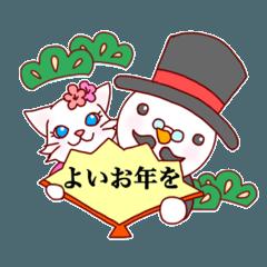 雪ネコちゃんとスノーマンの冬のスタンプ