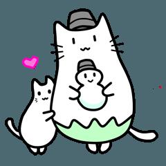 可愛い太めのネコちゃんスタンプ
