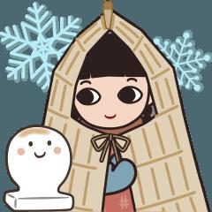 雪ん子ゆきこんの冬スタンプ