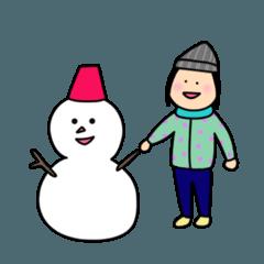 まる顔のマンナちゃん・冬