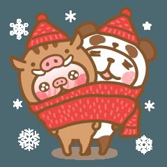 いのししとパンダになってみた冬クリスマス