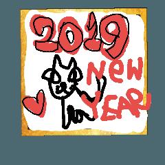画伯ゴル 2019年お正月スタンプ
