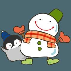 ぺんちゃんと雪だるまさん