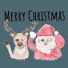 手描きの風のクリスマスと新年の挨拶(2019)