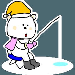 冬つかいやすいクマのスタンプ
