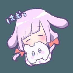 眠い ふわふわうさぎと女の子