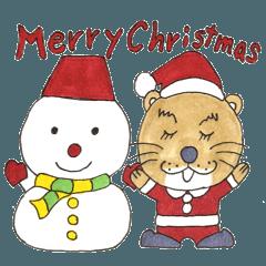 クリスマスやお正月のカワウソスタンプ