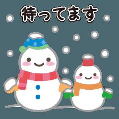冬。雪だるまスタンプ