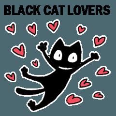 ハートがいっぱい黒猫スタンプ(English)