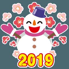 NEW YEAR 2019〜尖り鼻の雪だるま
