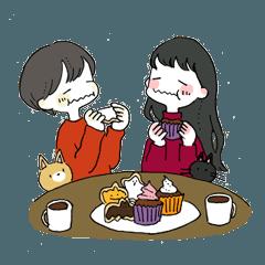 2人と2匹のハロウィンパーティー