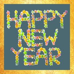 お花の『Happy New Year』(水彩色鉛筆)