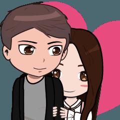 [LINEスタンプ] 韓国語&日本語の可愛いカップル愛ちゃん (1)