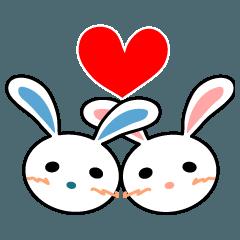 照れウサギ 愛のスタンプ