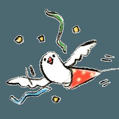 ひょっこり文鳥