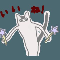 猫(白地に黒のブチ)