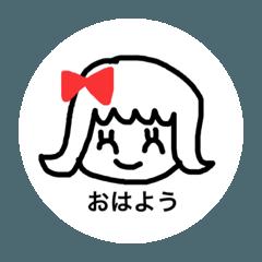 女の子一言スタンプ1 Japanese ver