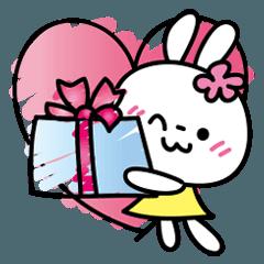 恋する♥️花うさちゃん3 : 落書きスタンプ