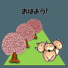 桜-三匹の犬たち