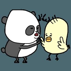 ゆり子ばら子のスタンプ④(パンダとヒヨコ)