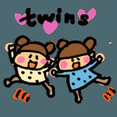 双子の可愛いスタンプ