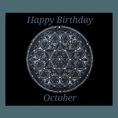 【お誕生日】10月 Flower of Life / 黒背景
