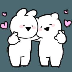 [LINEスタンプ] すこぶる動くちびウサギ&クマ【愛】