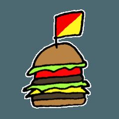 A hamburger flags