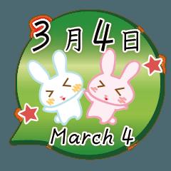 3月4日記念日うさぎ