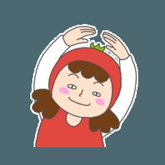 トマトなママと女の子のスタンプ