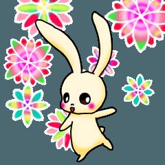 可愛いうさぎと花 日常と習い事
