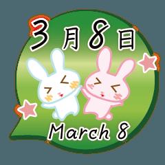 3月8日記念日うさぎ
